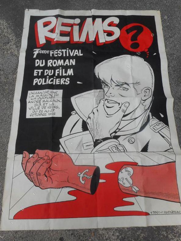 ( Affiche ) Reims - 7eme festival du roman et du film policier . TIBET ET DUCHATEAU