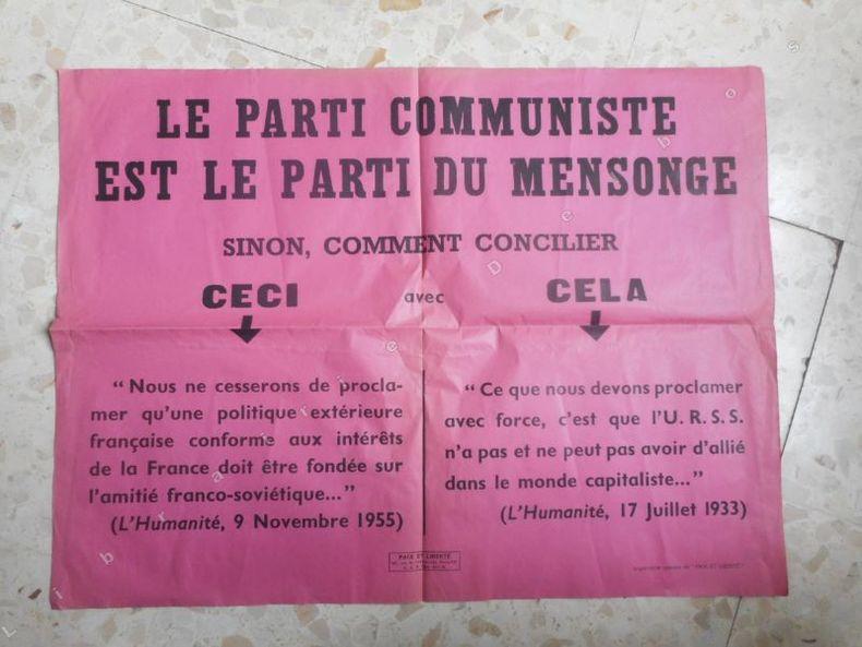 """Affiche : """"Le parti communiste est le parti du mensonge"""" . Anonyme"""