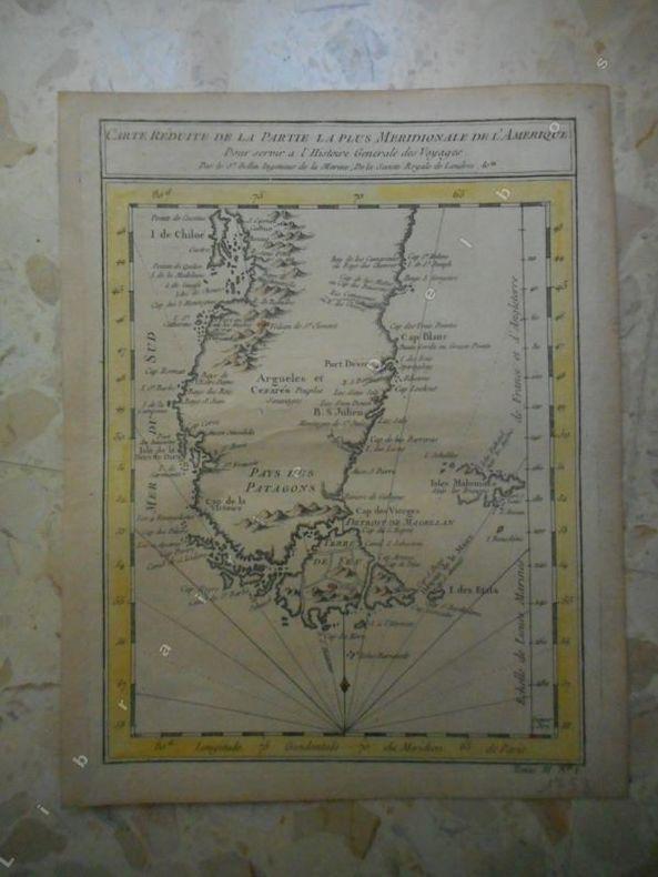 Carte reduite de a partie la plus meridionale de l'Amerique (Patagonie) . BELLIN