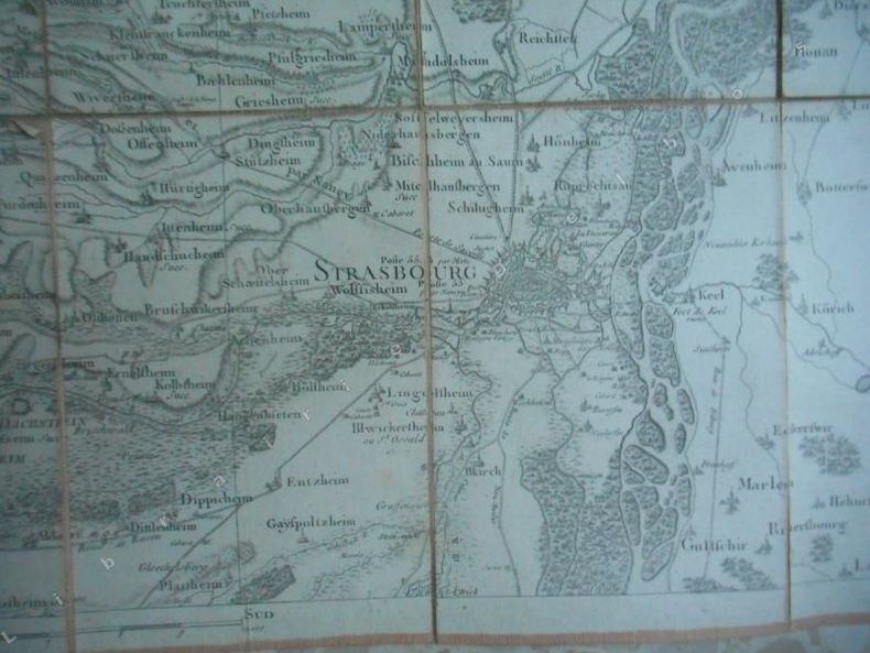 Carte  n°162 - Bas-Rhin / Strasbourg . (Goujon-Cassini)
