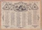 Calendrier 1850 gravé,double face par semestre ,la jeune italienne. Calendrier 1850