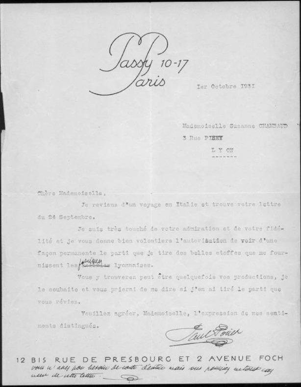 lettre tapuscrite signée avec 2 lignes autographes. Poiret, Paul