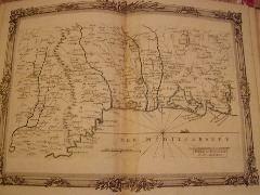 BRION DE LA TOUR  L . carte coloriée encadréed'une belle bordure gravée, Partie du Roussillon et du Languedoc (45) DESNOS 1757,,pliure mediane jaunie, ...