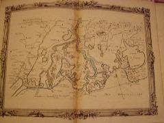 BRION DE LA TOUR  L carte coloriée encadrée d'une belle bordure gravée. Partie du Languedoc  et de la Provence (48) DESNOS 1757, ,pliure mediane ...