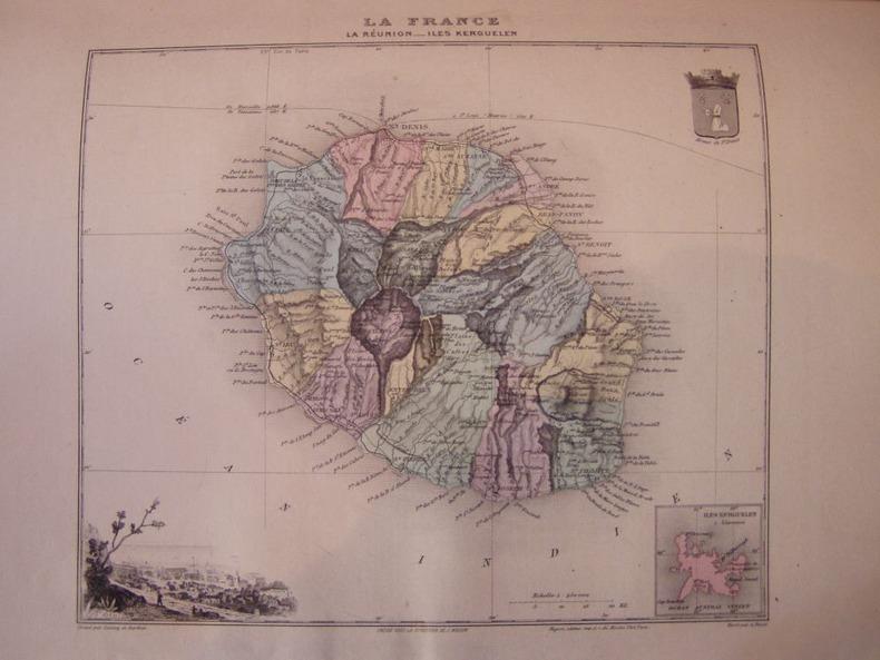 Grav.acier représentant Carte de l'ile Bourbon ( la Réunion ). Carte géographique Migeon