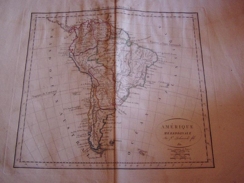 CARTE GEOGRAPHIQUE:Amerique Meridionale,1811. Vaugondy, Robert de, Didier - Delamarche, Francois
