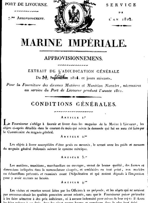 Affiche adjudication. MARINE IMPERIALE LIVOURNE