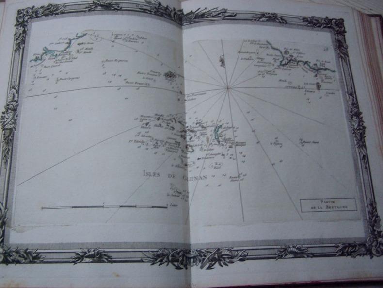 BRION DE LA TOUR  L . Partie de la Bretagne (28) carte coloriée encadrée d'une belle bordure gravée ISLES DE GLENAN. BRION DE LA TOUR  L .