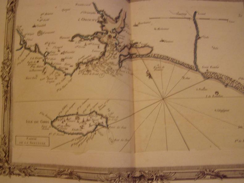 BRION DE LA TOUR  L . carte coloriée encadrée d'une belle bordure gravée île de Groix, ISLE DE GROA L'ORIENT LORIENT. BRION DE LA TOUR  L .