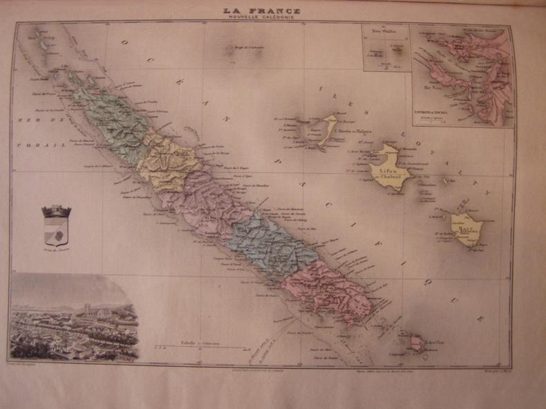 Carte de la Nouvelle Calédonie, extraite de l'Atlas Migeon.. ATLAS MIGEON 1901