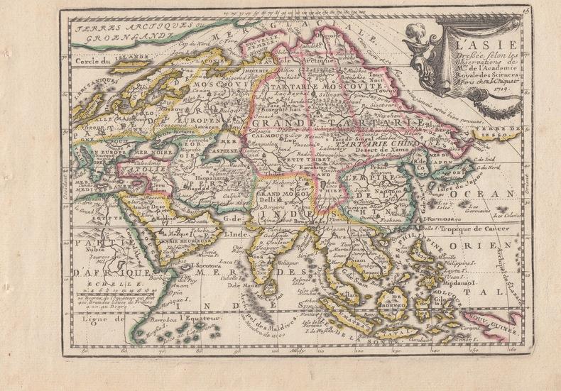 L' Asie Dressée selon les Observations de Mrs. de l'Academie Royale des Sciences. Carte gravée d'époque coloris époque avec feuillet de texte imprimé ...