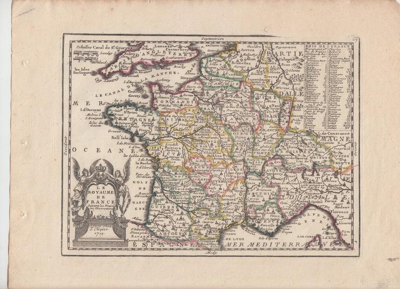LE ROYAUME DE FRANCE suivant Observations de Mrs. de l'Academie Royale des Sciences- Carte gravée d'époque coloris époque avec feuillet de texte ...