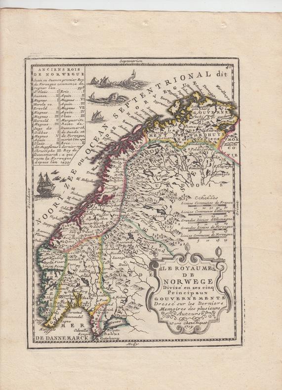 Le Royaume de Norwege Divise en ses cinq Principaux Gouvernements dréssé sur les derniers memoires-Carte gravée d'époque coloris époque avec feuillet ...