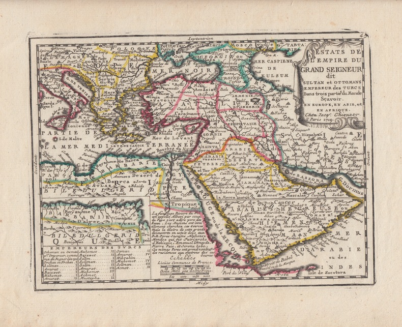 Estats De L'Empire Du Grand Seigneur dit Sultan et Ottomans Empereur des Turcs Dans trois partie du Monde Scavoir. En Europe, En Asie, et En Afrique. ...