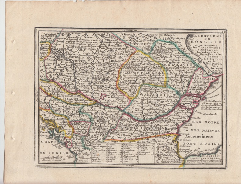 LE ROYAUME DE HONGRIE Carte gravée d'époque coloris époque avec feuillet de texte imprimé joint ,extrait du Nouveau et Curieux Atlas Geographique et ...