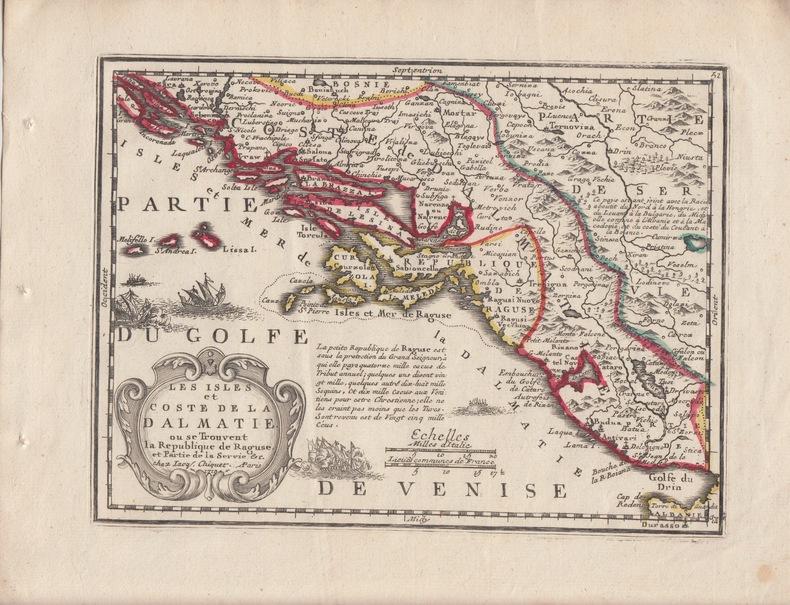 LES ISLES ET COSTE DE LA DALMATIE ou se trouvent la Republique de Raguse et partie de la Servie (Serbie).Carte gravée d'époque coloris époque avec ...