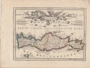 Candia - Crete Carte gravée d'époque coloris époque avec feuillet de texte imprimé joint . KRETA (Crete) / Griechenland (Greece),extrait du Nouveau et ...