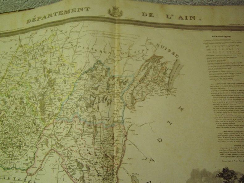 Carte du Département de l' AIN avec vue d'  dréssée par Donnet. DONNET ,FREMIN et LEVASSEUR ou DONNET and MONIN