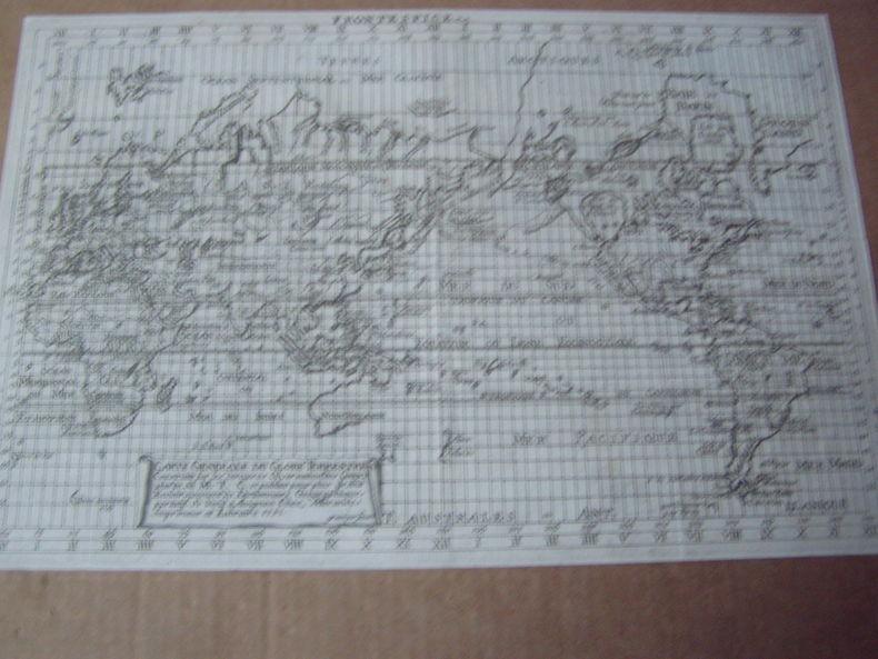 carte generale du globe terrestre,1751,frontispice du Dictionnaire géographique portatif ou du Traité de GEOGRAPHIE moderne par GIBRAT .