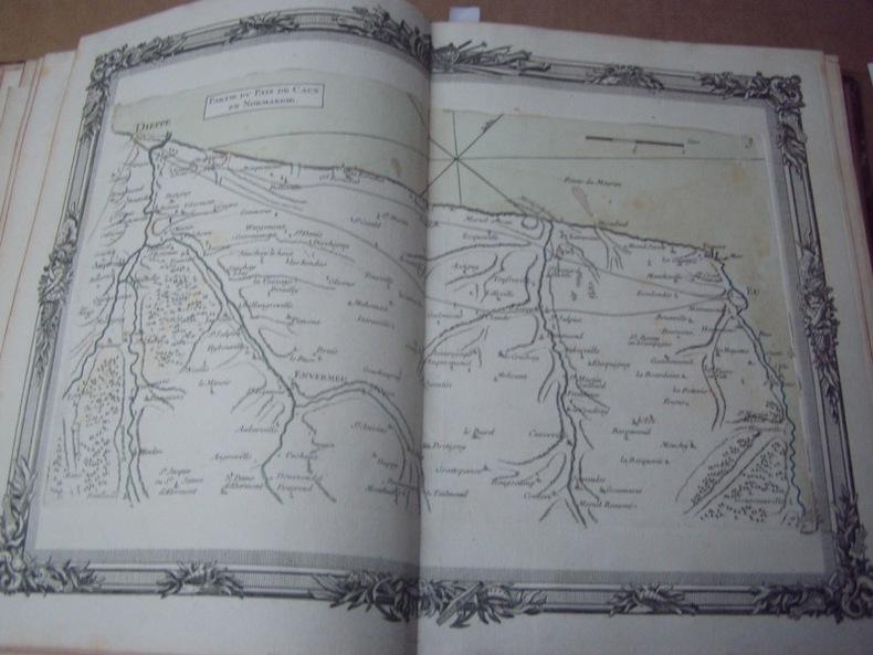 BRION DE LA TOUR  L .Partie du Pays de Caux en Normandie. (3) . carte coloriée encadrée d'une belle bordure gravée. BRION DE LA TOUR  L .