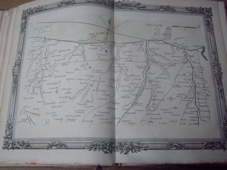 BRION DE LA TOUR  L .  Partie du Pays de Caux. (4). carte coloriée encadrée d'une belle bordure gravée. BRION DE LA TOUR  L .