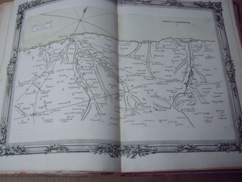 BRION DE LA TOUR  L .  Partie du Pays de Caux. (5). carte coloriée encadrée d'une belle bordure gravée. BRION DE LA TOUR  L .