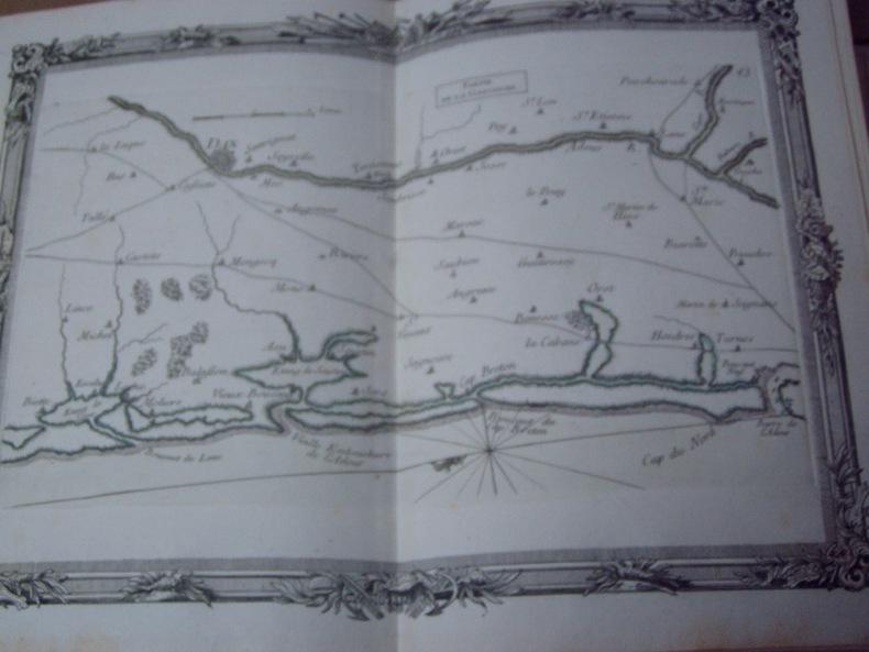 BRION DE LA TOUR  L .  Partie de la GUYENNE (43). carte coloriée encadrée d'une belle bordure gravée. BRION DE LA TOUR  L .