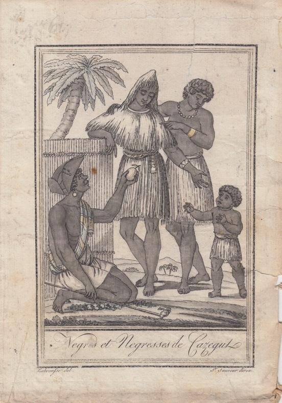 Negres et negresses de Cazegut.Costumes civils actuels de tous les peuples connus, dessinés d'après nature, gravés et coloriés, accompagnés d'une note ...