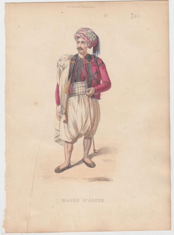 Maure d'Alger,Gravure XIXe s.,coloriée.Costumes civils actuels de tous les peuples connus, dessinés d'après nature, gravés et coloriés, accompagnés ...