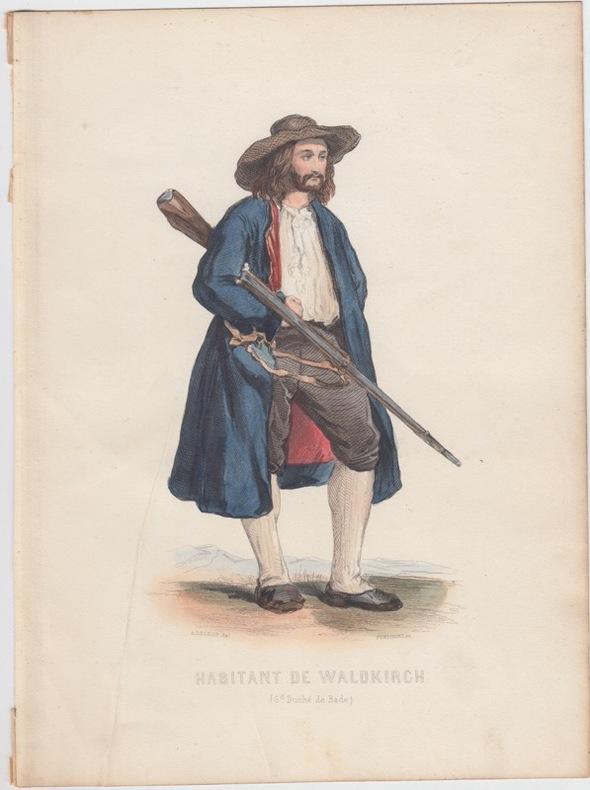 habitant de Waldkirch,Gravure XIXe s.,coloriée.