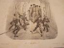 LEVEZ LE SIEGE polissons !.. lithographie originale. Traviès de Villers,Charles Joseph