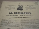 """Vite main et Coussin pleurant le 21 Janvier - Pl. n°3 de la série """"Cérémonie des cendres politiques""""-  Lithographie, Coloriée -. Grandville & ..."""