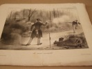 La main invisible (duel) - Lithographie originale en noir sur Velin blanc.. Attribué à Grandville