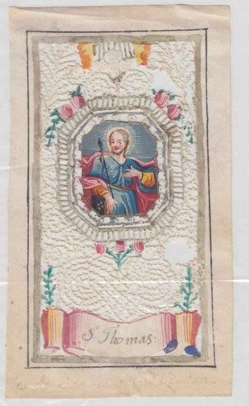 saint Thomas image pieuse ancienne à dentelles,miniature - canivet. miniature - canivet Il Santino