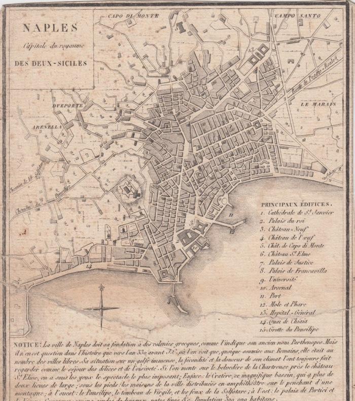 Carte NAPLES capitale du royaume des DEUX-SICILES.