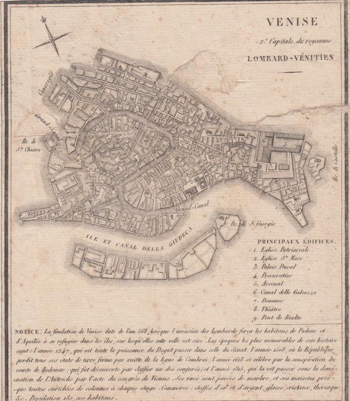 Carte VENISE 2e capitale du royaume LOMBARD - VENITIEN.