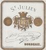 ancienne étiquette  Etiquette St Julien Bordeaux Guinouard- litho originale or fin XIXe,bords dorés ronds medaille d'or 1865.