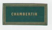 Chambertin ancienne étiquette vin Bourgogne -  Etiquette dorée fond vert - litho originale fin XIXe,.