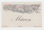 ancienne étiquette vin MACON avec carte des crus, Etiquette noire  - litho originale fin XIXe,.