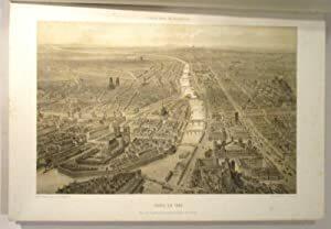 Paris en 1860. Vue à vol d'oiseau, prise au dessus du quartier de St. Gervais. lithographie originale à fond teinté. LITHOGRAPHIE] BENOIST F.- BENOIST ...