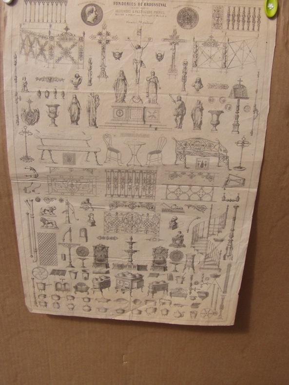 fontes moulées, fonderie de Brousseval catalogue en lithographie. Fonderie de Brousseval