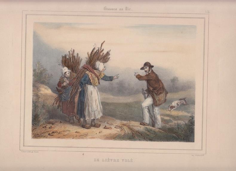 LE LIEVRE VOLE lithographie coloriée et gommée, tiré de l'Album de chasses au tir & au chien d' arret . Grenier F.- GRENIER de SAINT-MARTIN, François ...