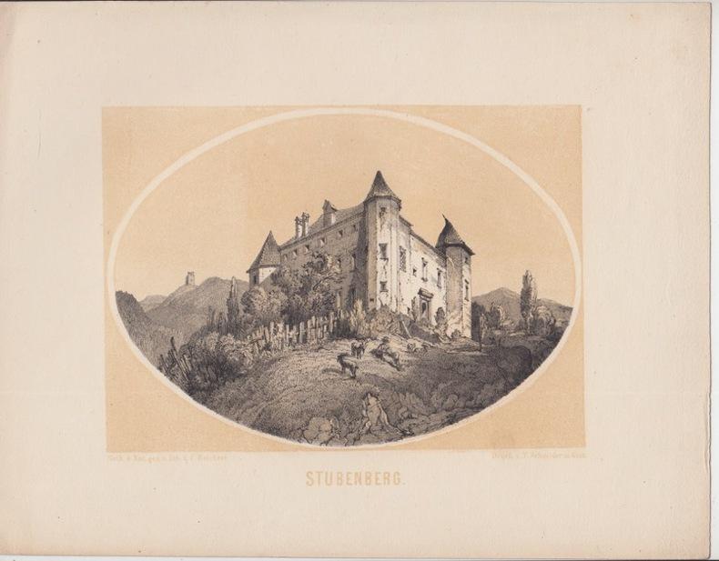 Schloss Herberstein Stubenberg Steiermark Original Lithographie Reichert- lithographie à fond teinté. Schloss Herberstein Stubenberg Steiermark ...