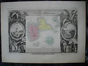 Carte de l'ILE DE LA GUADELOUPE, COLONIE FRANÇAISE (en Amérique). LEVASSEUR, V.