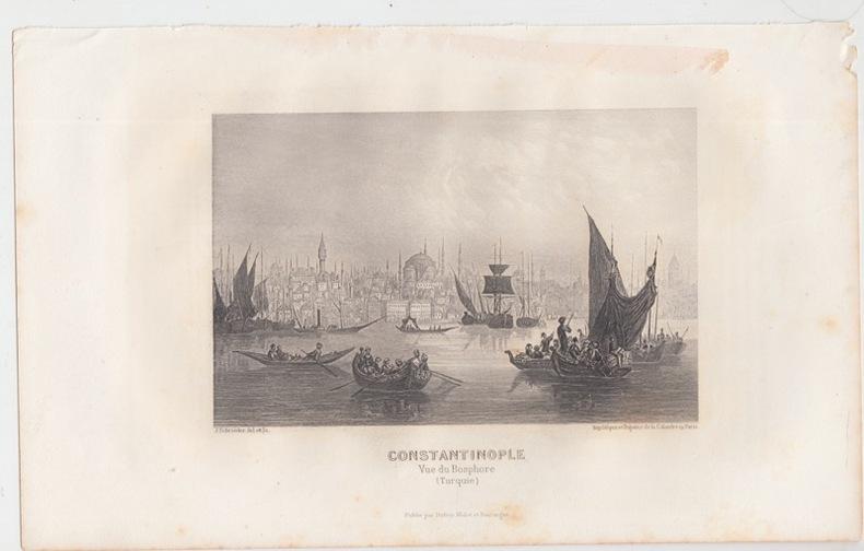 CONSTANTINOPLE , VUE du BOSPHORE [ TURQUIE ]. SCHROEDER J. [ DESSIN et GRAVURE ]