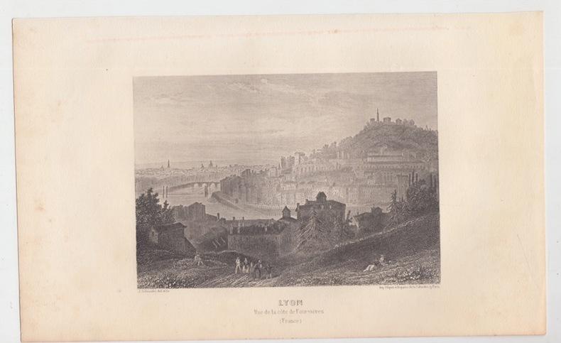 LYON , VUE de la Côte de FOURVIERE - Eau forte. SCHROEDER J. [ DESSIN et GRAVURE ]