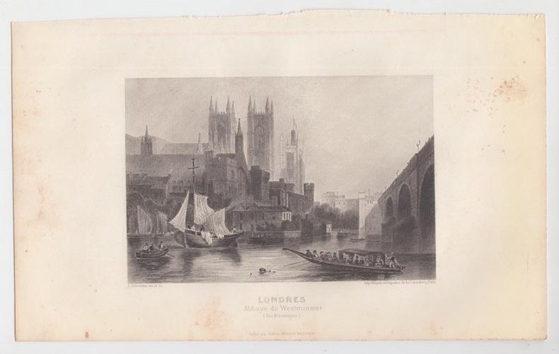 LONDRES Abbaye de WESTMINSTER (Iles britanniques) - Eau forte. SCHROEDER J. [ DESSIN et GRAVURE ]