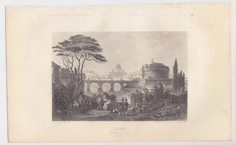 ROME chateau St.Ange (Italie) - Eau forte. SCHROEDER J. [ DESSIN et GRAVURE ]