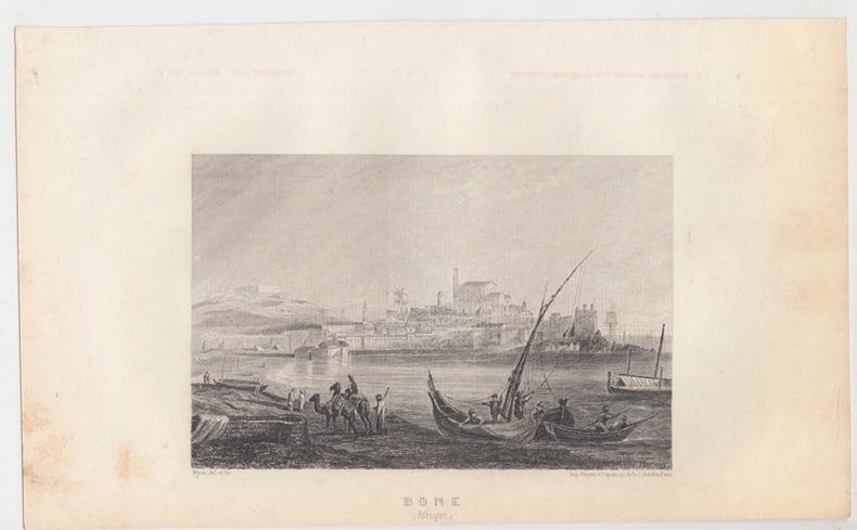 Ville de Annaba ou Bone - - Eau forte Gravure ancienne - Algérie en Afrique. Nyon