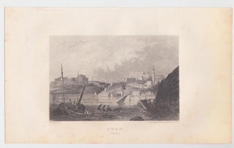 Ville d'Oran en Algérie -  Eau forte Gravure ancienne - Afrique. Nyon